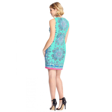 London Times Aqua Multi Print Pattern Dress