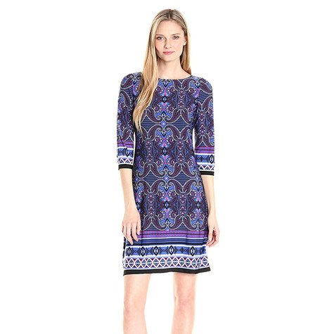 London Times Navy & White Paisley Print Dress