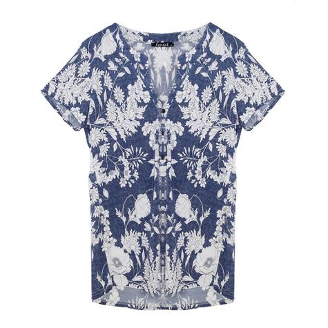 Twist Blue Floral V-Neck Top
