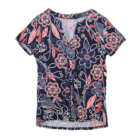 Twist Navy Pablo Floral Print Top
