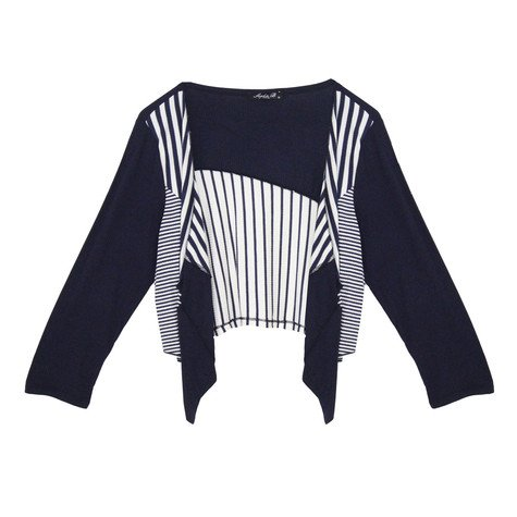 SophieB Navy Strip Crop Open Bolero Jacket