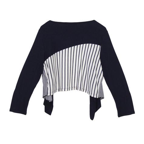 SophieB Navy Strip Crop Open Bolero Jacket