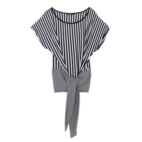 SophieB Big Tie Navy Stripe Top