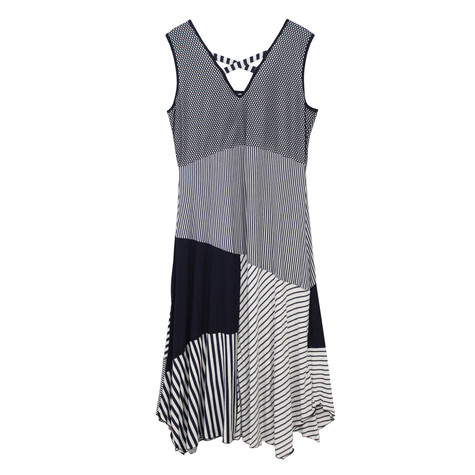 SophieB Navy Abstract Stripe Long Dress