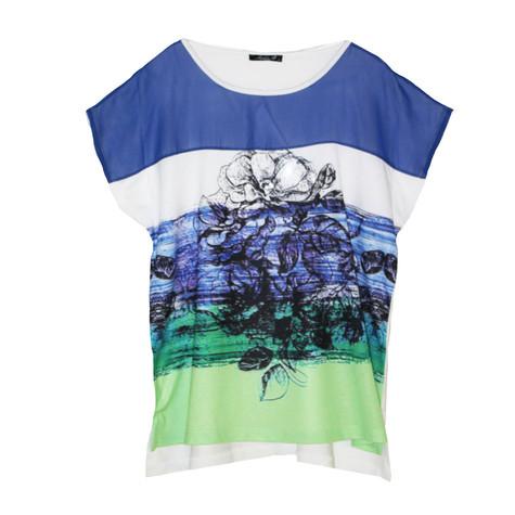 SophieB Blue & White Digital Print Top