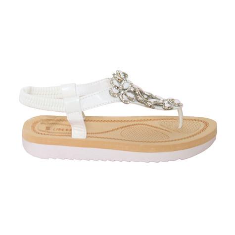Libra Pop White T Bar Floral Sandal