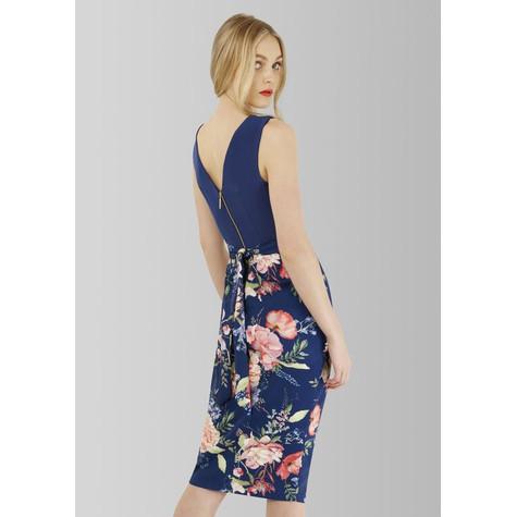 Closet Floral Skirt Draped Midi Dress