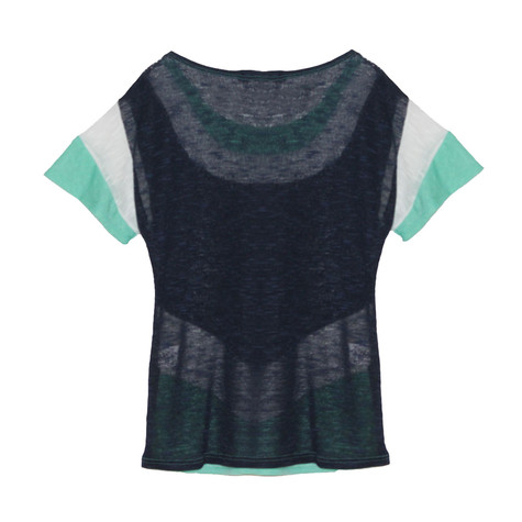 SophieB Navy & Green Linen Mix Top