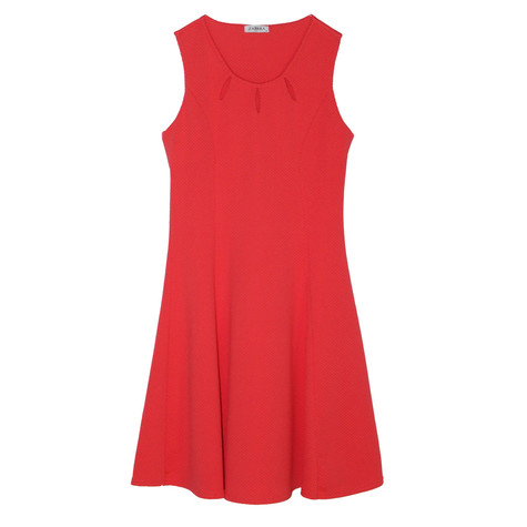 Zapara Sleeveless Pink Round Neck Dress