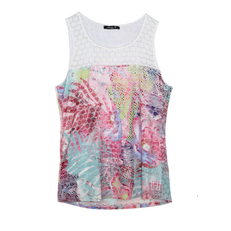 SophieB Pink Pattern Lace Vest Top
