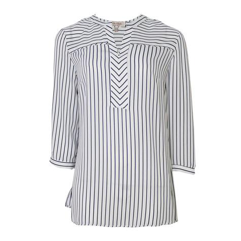 Tinta Style White Loose Stripe Blouse