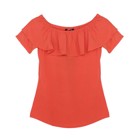 SophieB Orange Frill Bardot Top