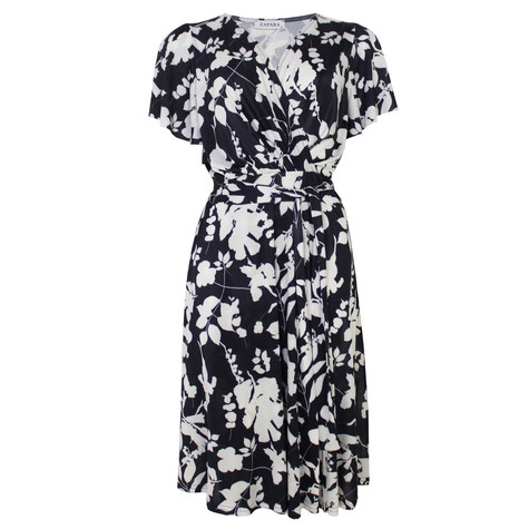 Zapara Navy & White Floral Belt Detail Dress