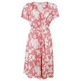 Zapara Pink & White Floral Belt Detail Dress