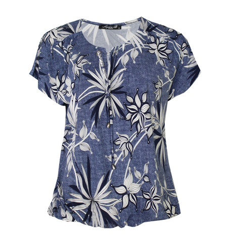 SophieB Denim Leaf Pattern Print Top