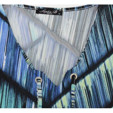 SophieB Aqua Graphic Print V-Neck Dress