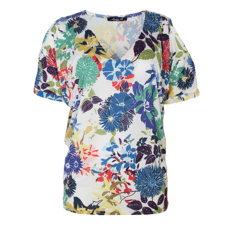 SophieB Off White Cold Shoulder Floral Print Top