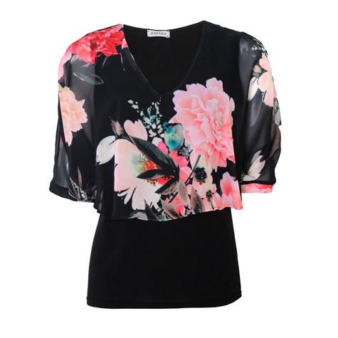 Zapara Black V-Neck Floral Print Top