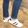 Jhaybar White & Black Strip Retro Trainers