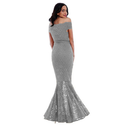 Goddiva Silver Long Lace Bardot Dress | Pamela Scott