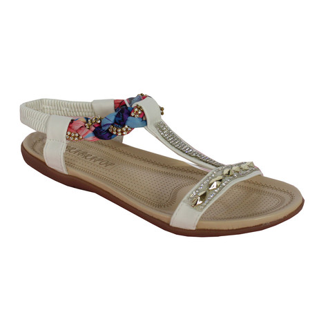 Libra Pop White Plait Detail Diamante T Bar Flat Sandal