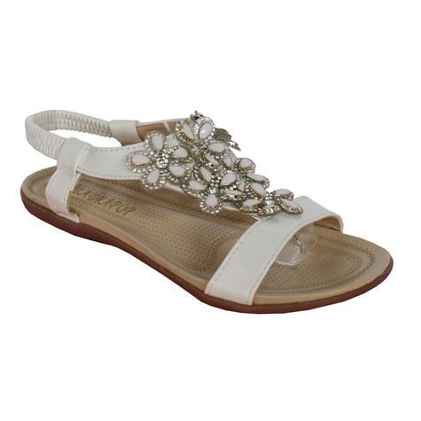 Libra Pop White Floral Detail Diamante Flat Sandal