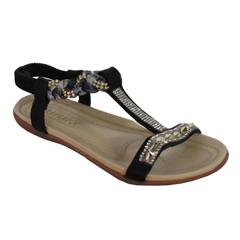 Libra Pop Black Plait Detail Diamante T Bar Flat Sandal
