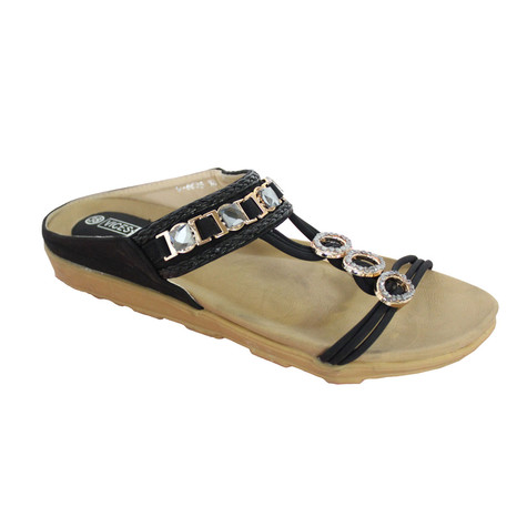 Vice Verso Black Jewel Slide Sandal