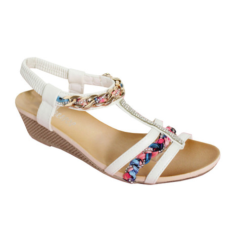 O'Moda White T Bar Jewel Detail Sandal