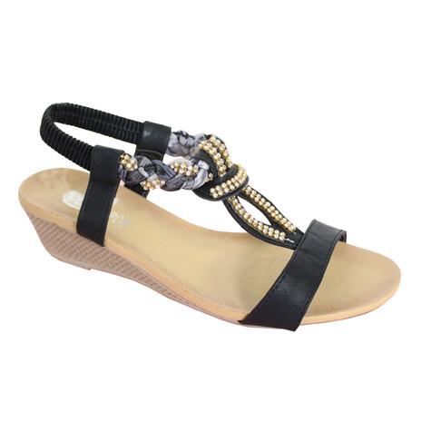 O'Moda Black Diamante/Plait Detail Sandal