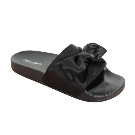 Happy Feet Black Satin Bow Slider Sandal - NOW €20