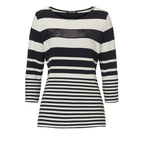 Betty Barclay Navy Strip Diamante Detail Knit