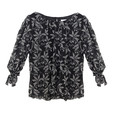 Zapara Black Floral Pattern Sweetheart Blouse