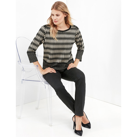 Gerry Weber City Stories Sand & Black Round Neck Top