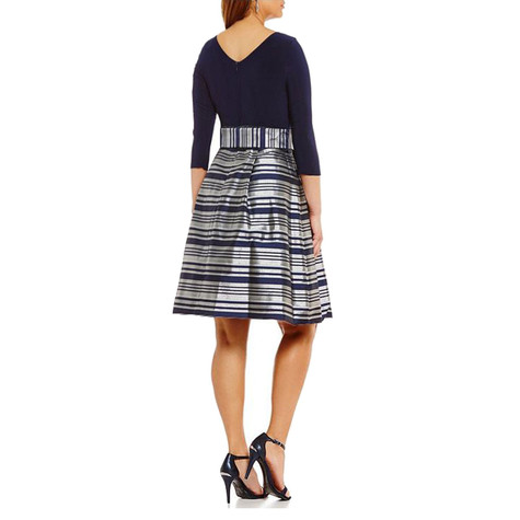 London Times Navy & Metallic Stripe Dress