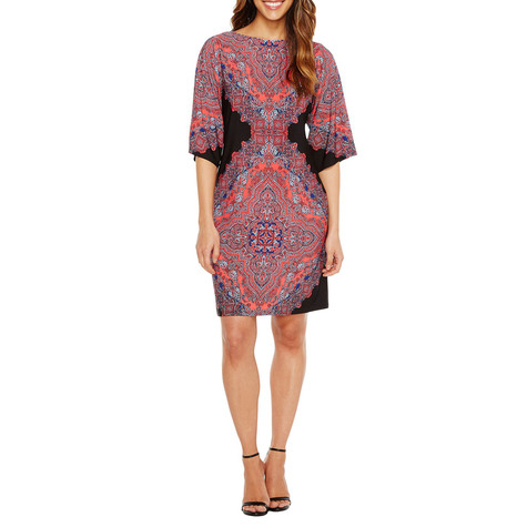 London Times Black & Coral Kimono Paisley Print Dress