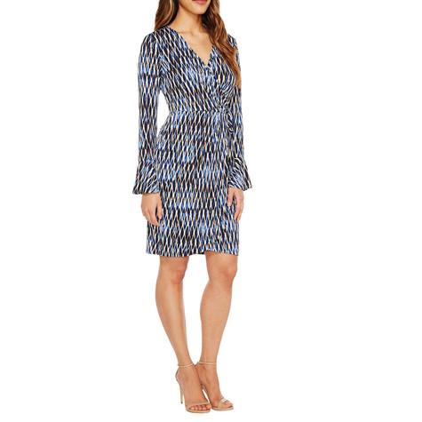London Times Blue Print Wrap Dress