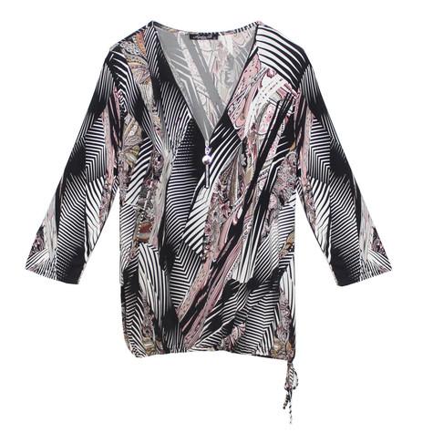 SophieB Pink & Black Abstract Zip Neckline Top