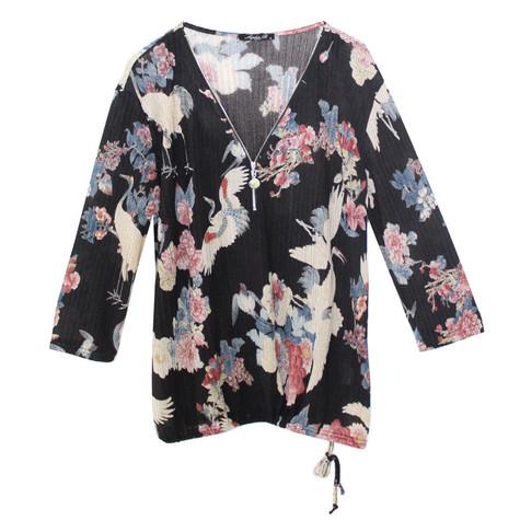 SophieB Black Floral Zip Neckline Top