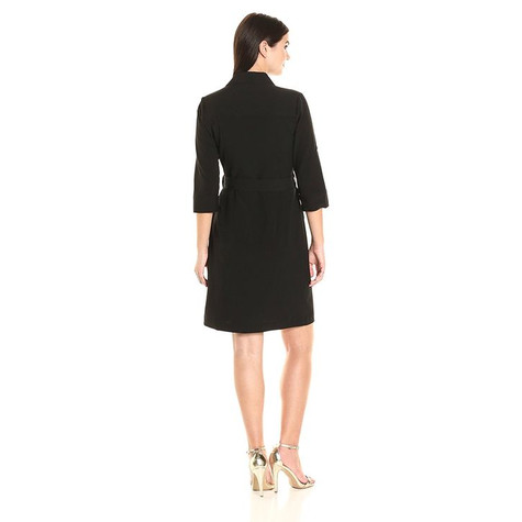 Sharagano Black Long Shirt Belt Dress
