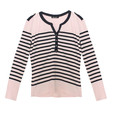 Twist Navy Strip Pale Pink Open Neck Top