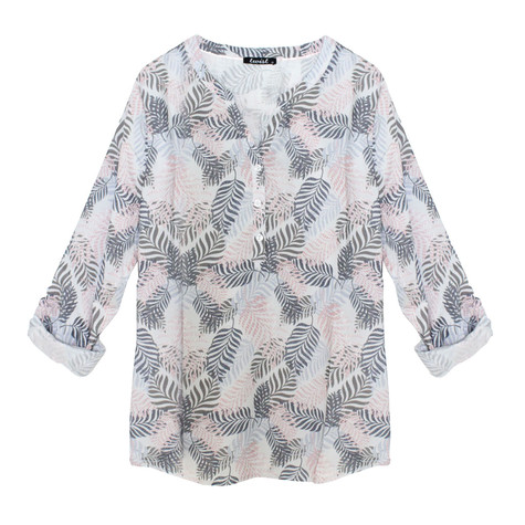 Twist Indigo Palm Print Open Neck Blouse