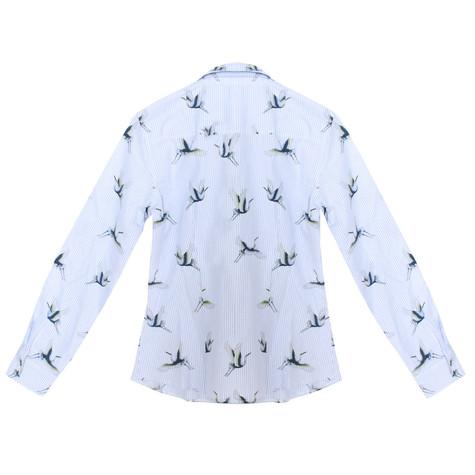 Twist Blue & White Pin Stripe Stork Print Shirt