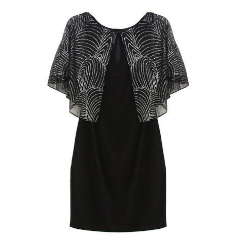 Jessica Howard Black & Silver Glitter Cape Dress