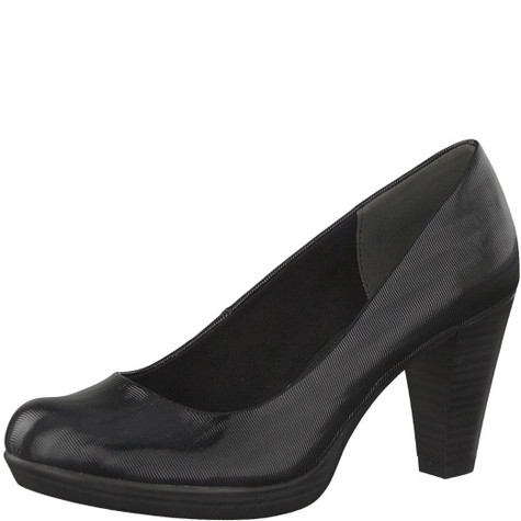 Marco Tozzi Black Platform Sole Court Shoe