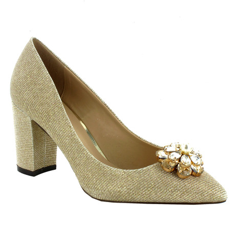 Pacomena Champagne Court Shoe with Jewel Detail