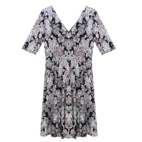 Zapara V-Neck Pink Leaf Pattern Print Dress