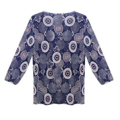 Twist Navy Spiral Pattern Print Top