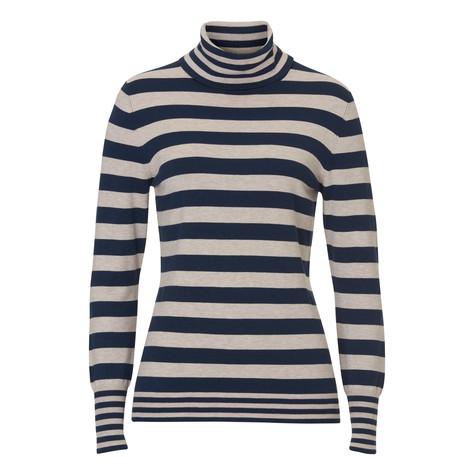 Betty Barclay Turtle Neck Navy & Beige Stripe Knit