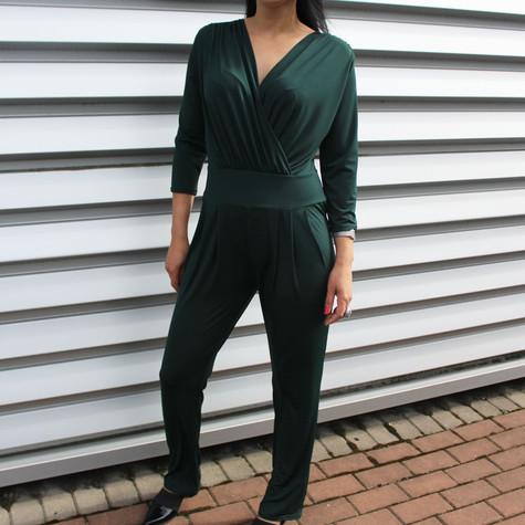 Zapara Bottle Green V-Neck Wrap Jump Suit
